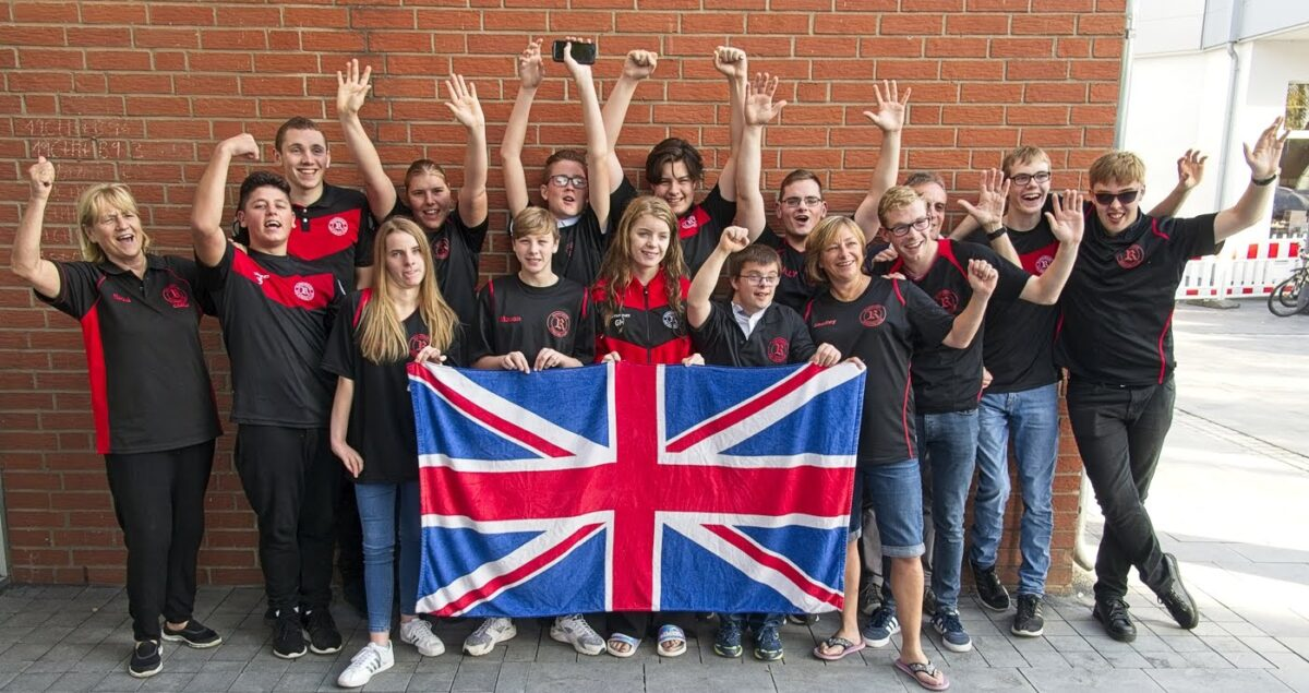 swimmers with union jack