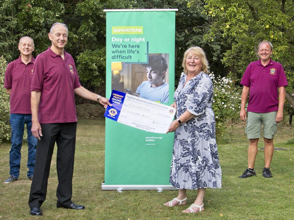 Billericay Lions hand cheque to Samaritans